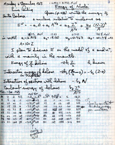 Notes re: Energy of Nuclei. Page 1. December 6, 1965