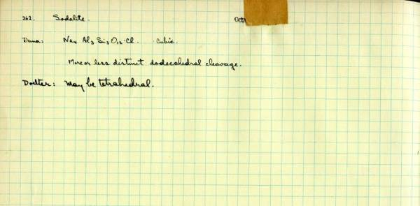 Notes re: Sodalite.Page 125. 1930