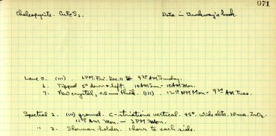 Notes re: Chalcopyrite.Page 71. December 1931
