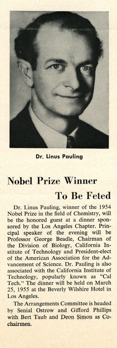 """Nobel Prize Winner to be Feted"" Page 1. April 1955"