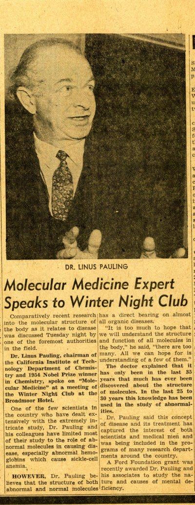 """Molecular Medicine Expert Speaks to Winter Night Club.""Page 1. April 24, 1957"