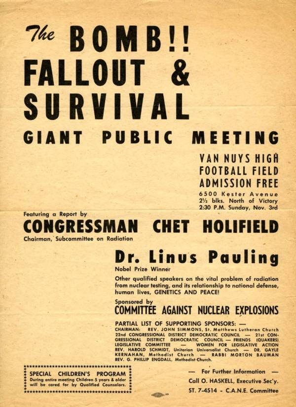 """The Bomb!! Fallout & Survival Giant Public Meeting."""