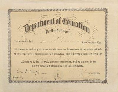 department of education portland oregon grade school diploma sunnyside school february