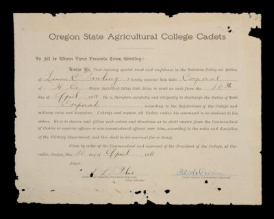 Oregon state agricultural college cadet corps certificate of certificate thecheapjerseys Choice Image