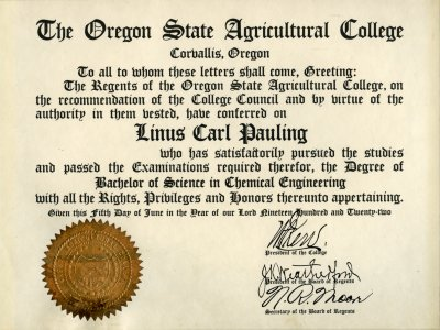 Oregon State Agricultural College Diploma Bachelor Of