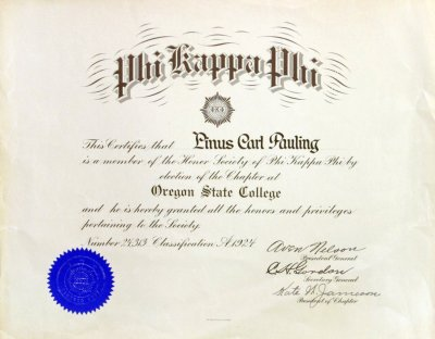 Phi Kappa Phi, Chapter at Oregon State College, Certificate of ...