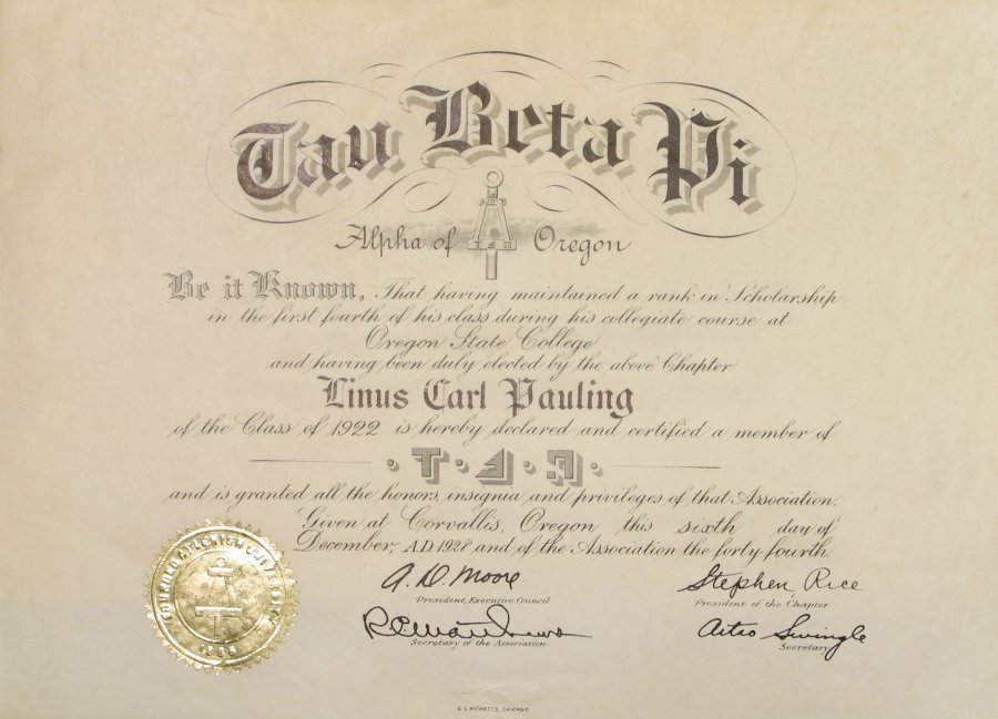 Tau Beta Pi Oregon Alpha Chapter Certificate Of Membership