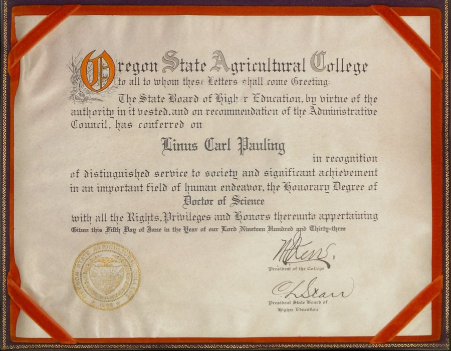 oregon state college diploma honorary doctor of science  featuring items from the ava helen and linus pauling papers presented by oregon state university libraries special collections archives research center