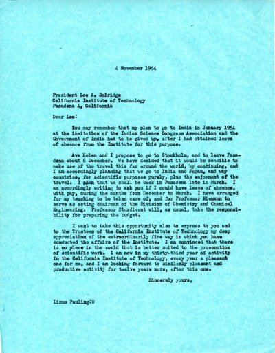 Letter from Linus Pauling to Lee DuBridge. Page 1. November 4, 1954