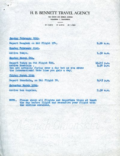Itinerary for Linus and Ava Helen Pauling's trip around the world. Page 2. February - March 1955