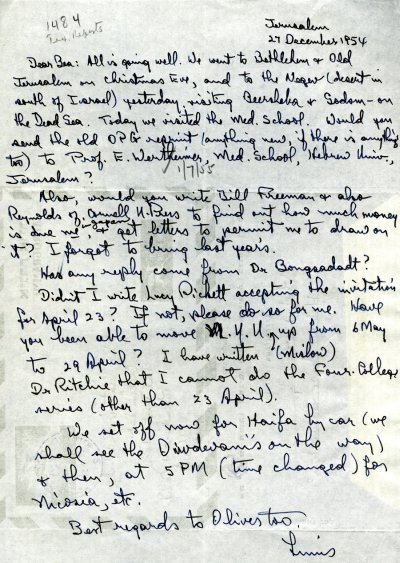 Letter from Linus Pauling to Beatrice Wulf. Page 1. December 27, 1954