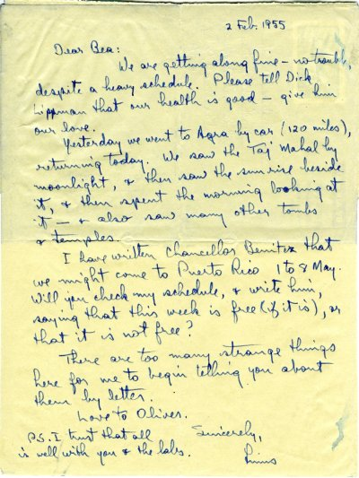 Letter from Linus Pauling to Beatrice Wulf. Page 1. February 2, 1955