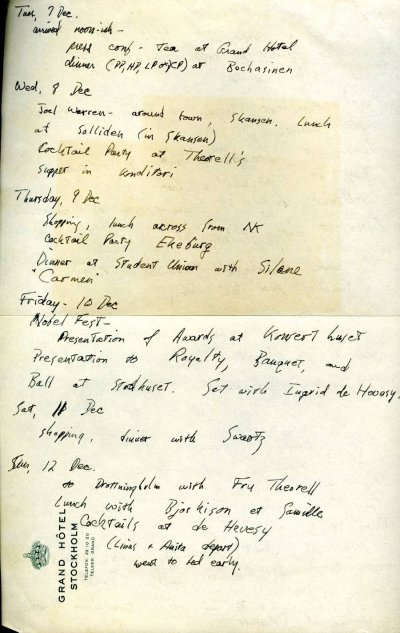 Itinerary for Crellin Pauling's Nobel trip to Sweden.Page 1. December 7, 1954