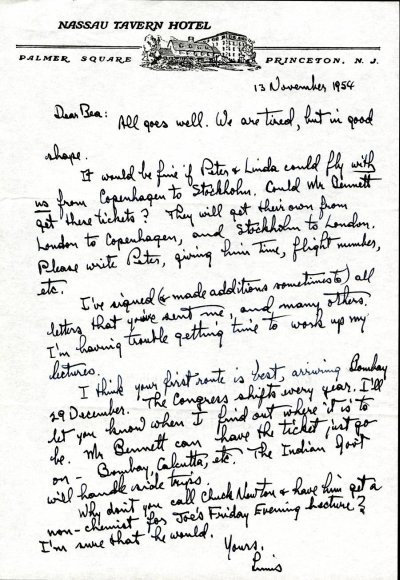 Letter from Linus Pauling to Beatrice Wulf. Page 1. November 13, 1954