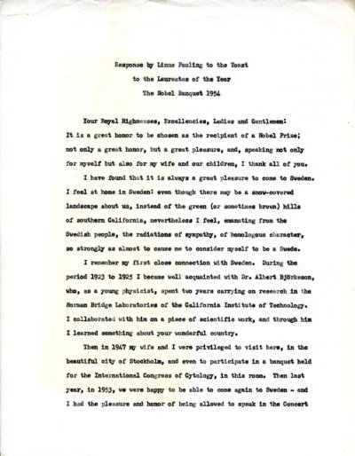 Response by Linus Pauling to the Toast to the Laureates of the Year, The Nobel Banquet.Page 1. December 10, 1954