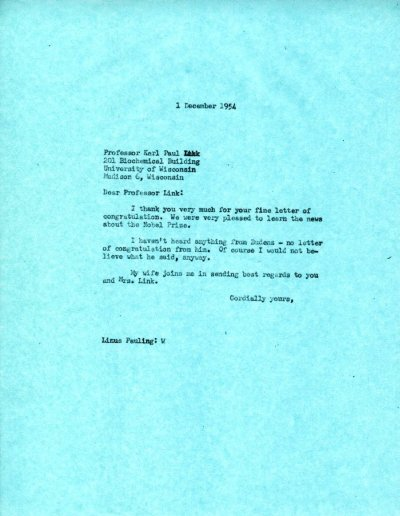 Letter from Linus Pauling to Karl Paul Link.Page 1. December 1, 1954