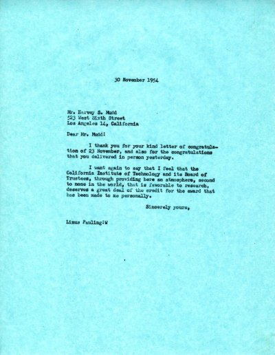 Letter from Linus Pauling to Harvey S. Mudd. Page 1. November 30, 1954