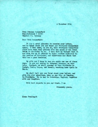 Letter from Linus Pauling to Johanna Sommerfeld.Page 1. December 4, 1954