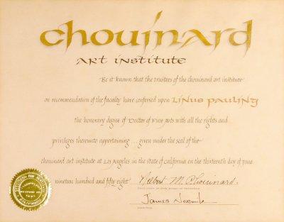 chouinard art institute diploma doctor of fine arts  certificate