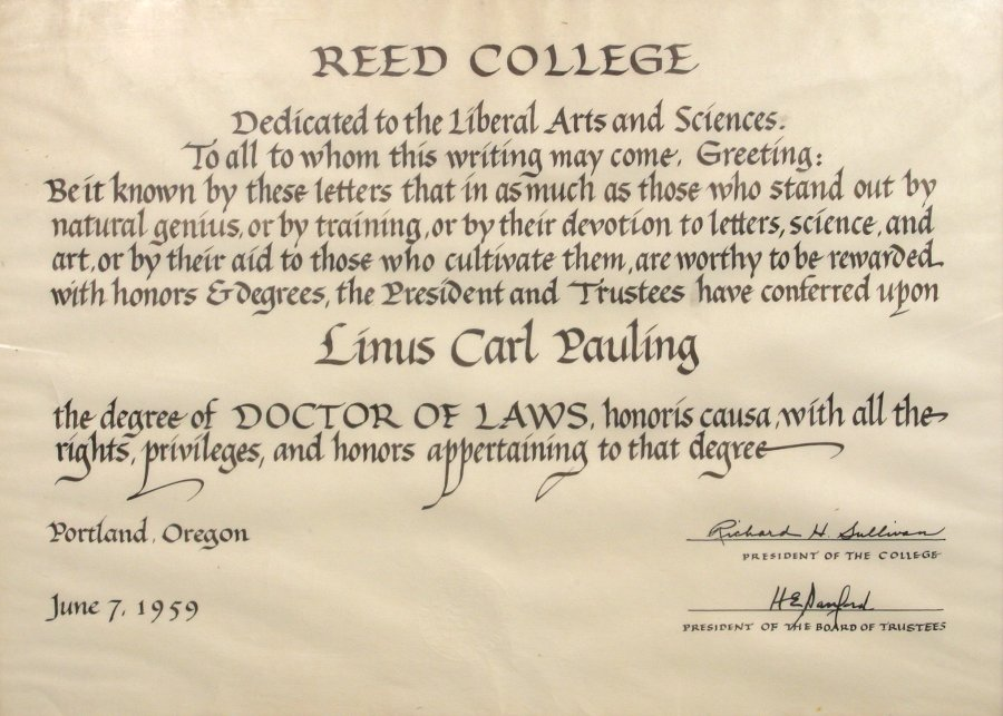 Reed College, Diploma, Doctor of Laws, honoris causa  June 7, 1959