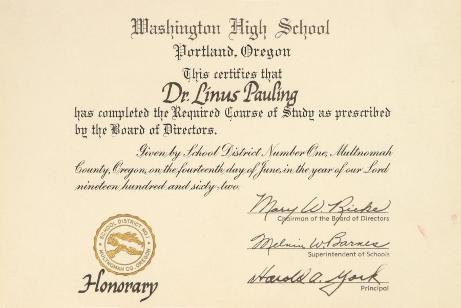 Washington High School, Honorary high school diploma. June 14, 1962 ...