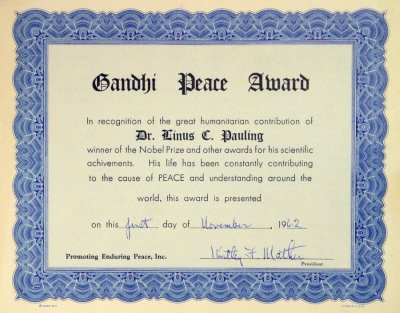 Gandhi Peace Award Promoting Enduring Peace Inc Certificate – Winner Certificates