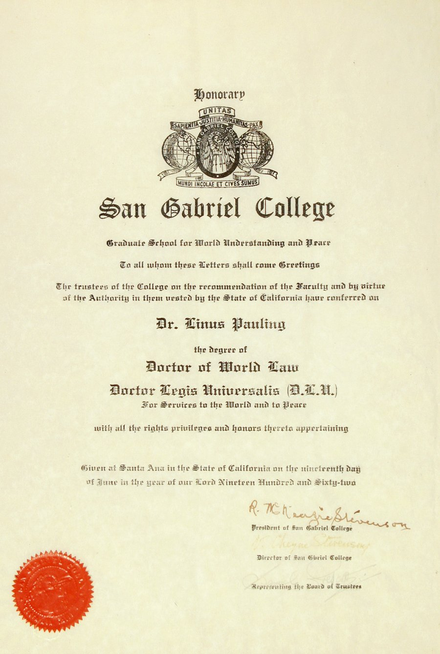 San Gabriel College Diploma Honorary Doctor Of World Law December