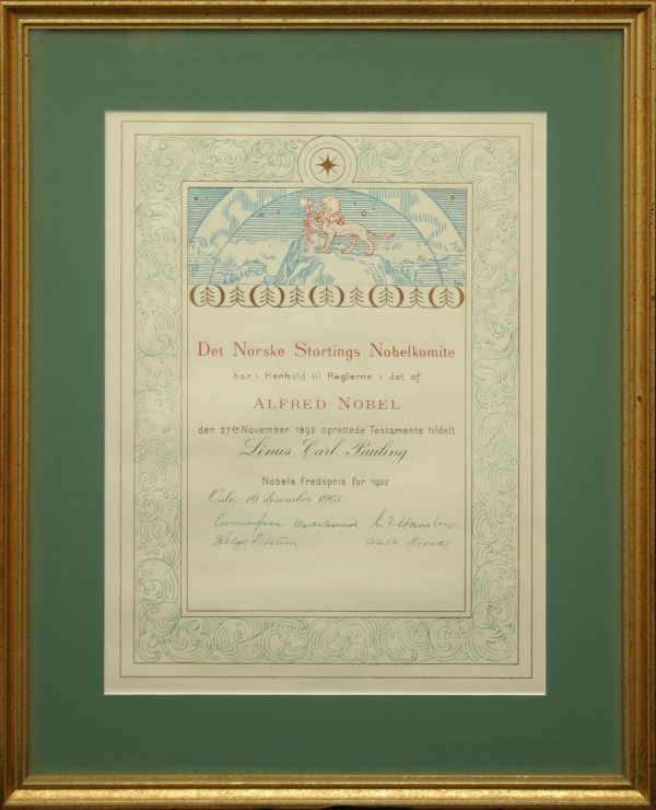 Nobel Prize for Peace. Certificate. December 10, 1963