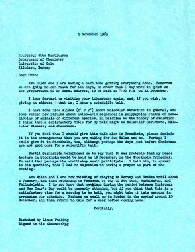 Letter from Linus Pauling to Otto Bastiansen. Page 1. November 2, 1963