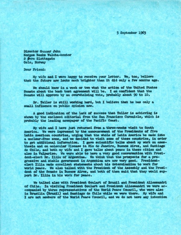 Letter from Linus Pauling to Gunnar Jahn.Page 1. September 5, 1963