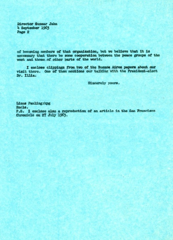 Letter from Linus Pauling to Gunnar Jahn.Page 2. September 5, 1963