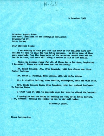 Letter from Linus Pauling to August Schou. Page 1. December 4, 1963