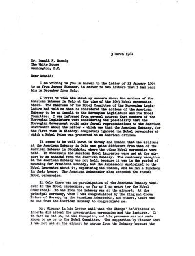 Letter from Linus Pauling to Donald F. Hornig. Page 1. March 3, 1964