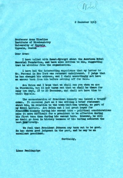 Letter from Linus Pauling to Arne Tiselius. Page 1. December 2, 1963