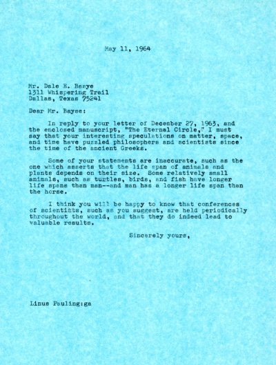 Letter from Linus Pauling to Dale E. Basye. Page 1. May 11, 1963