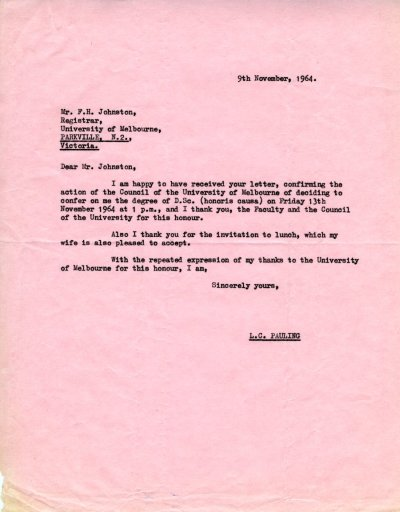 Letter from Linus Pauling F. H. Johnston. Page 1. November 9, 1964