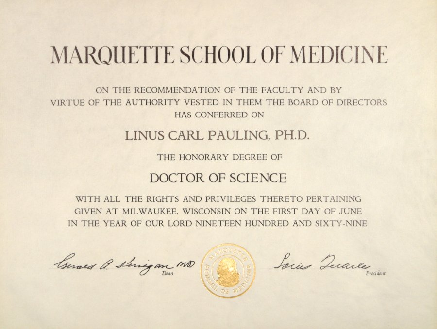 marquette school of medicine honorary doctor of science