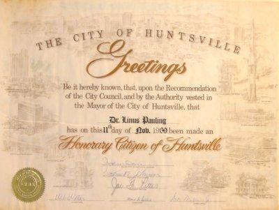 City of Huntsville, Alabama, Certificate of Honorary Citizenship ...