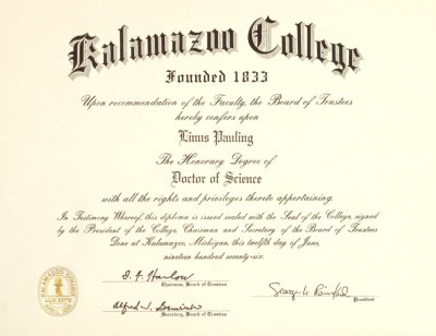 kalamazoo college diploma honorary doctor of science