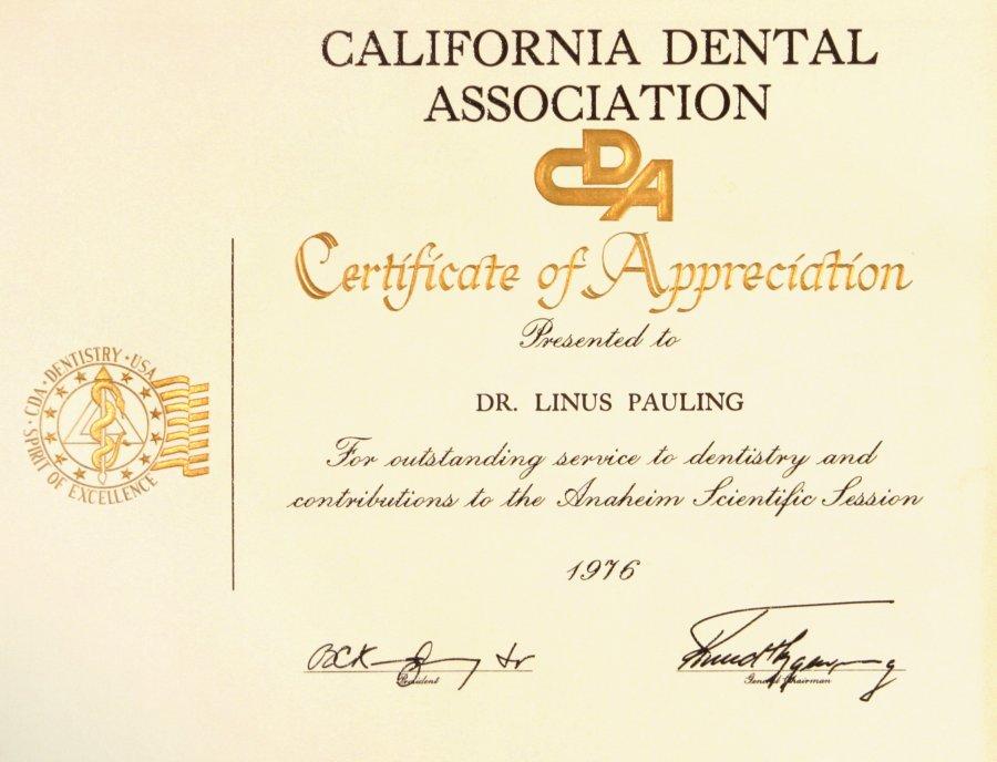 California Dental Association Certificate Of Appreciation 1976