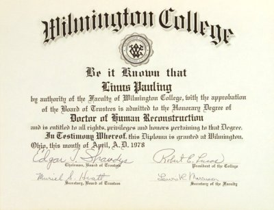 wilmington college diploma honorary doctor of human