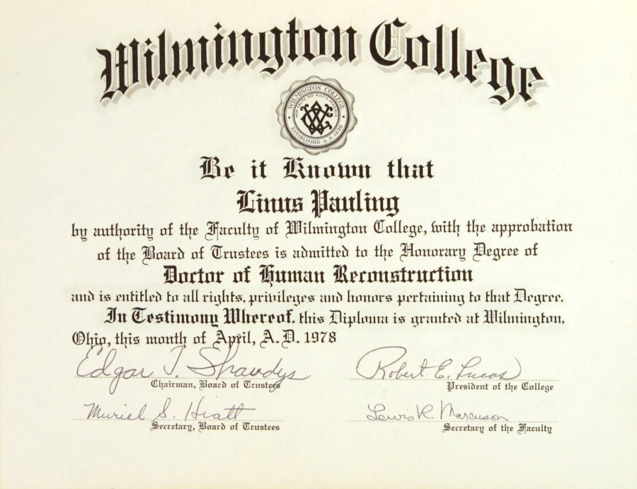 wilmington college  diploma  honorary doctor of human reconstruction  citation  april 1978