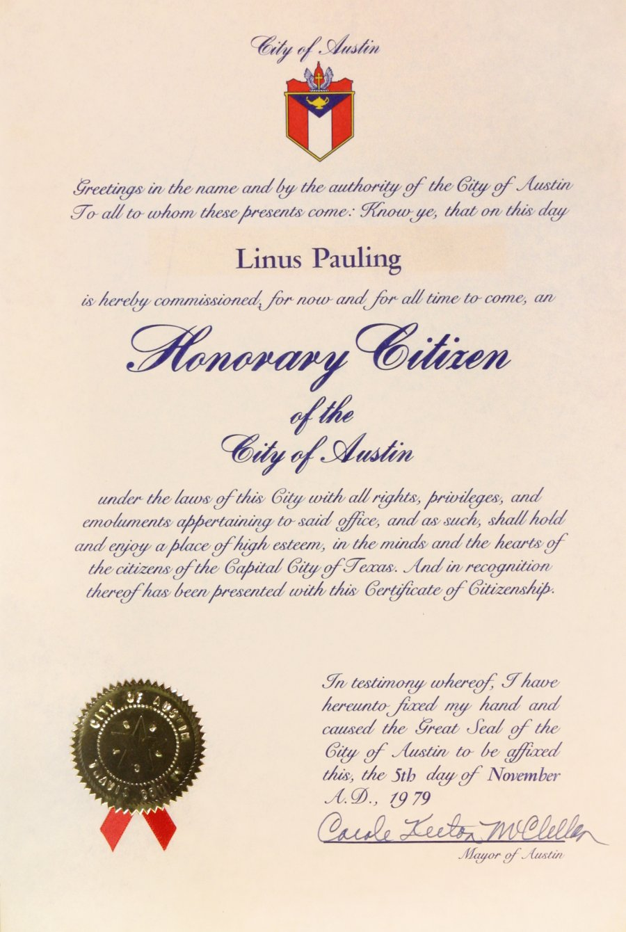 City Of Austin Texas Certificate Of Honorary Citizenship November