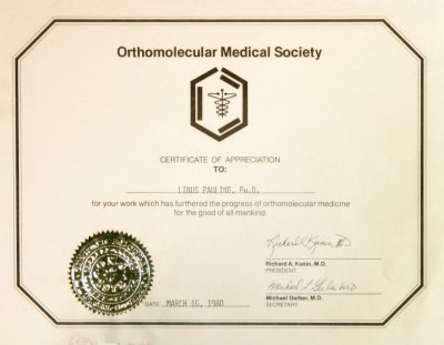 Orthomolecular medical society certificate of appreciation march certificate yelopaper Choice Image