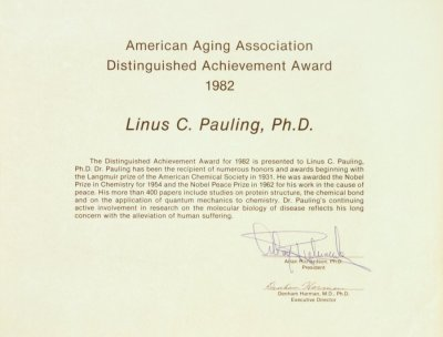 American Aging Association Distinguished Achievement Award