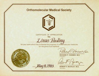 Orthomolecular Medical Society Certificate of Appreciation May 8 – Medical Certificate from Doctor