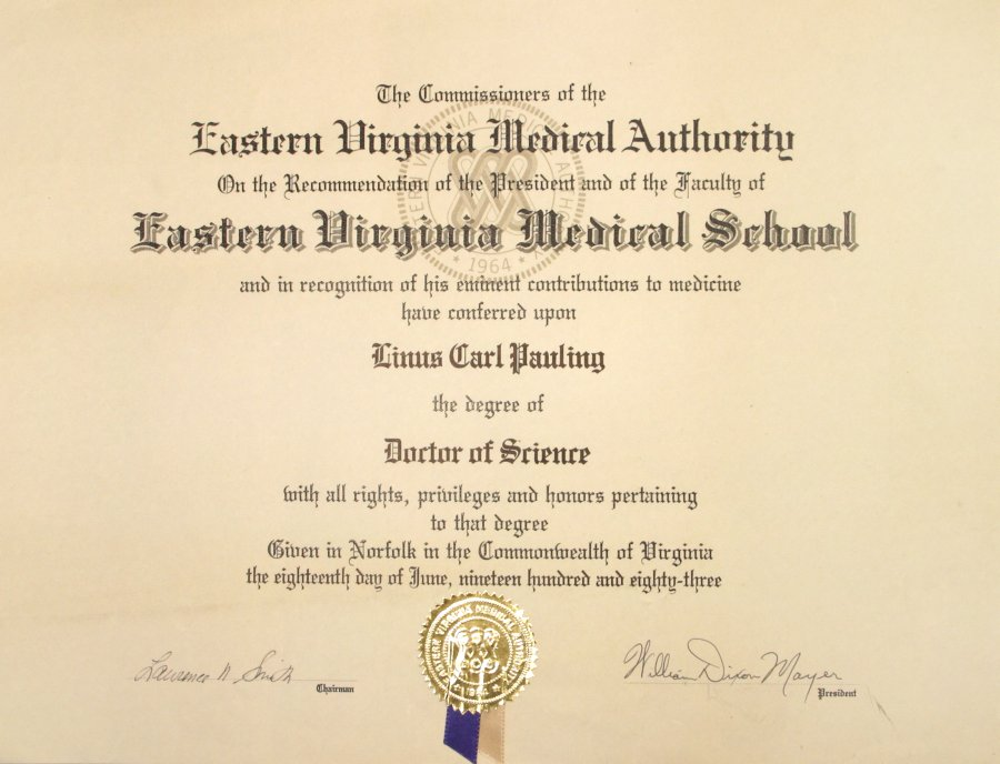 Eastern Virginia Medical Authority, Diploma, Doctor Of Science