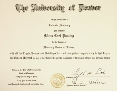 University Of Denver Diploma Honorary Doctor Of Letters