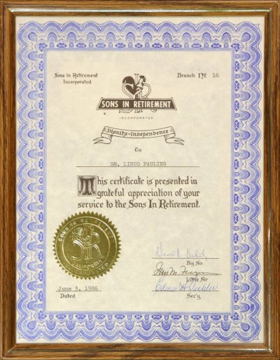 Subject: Certificates - Linus Pauling: Awards, Honors and Medals