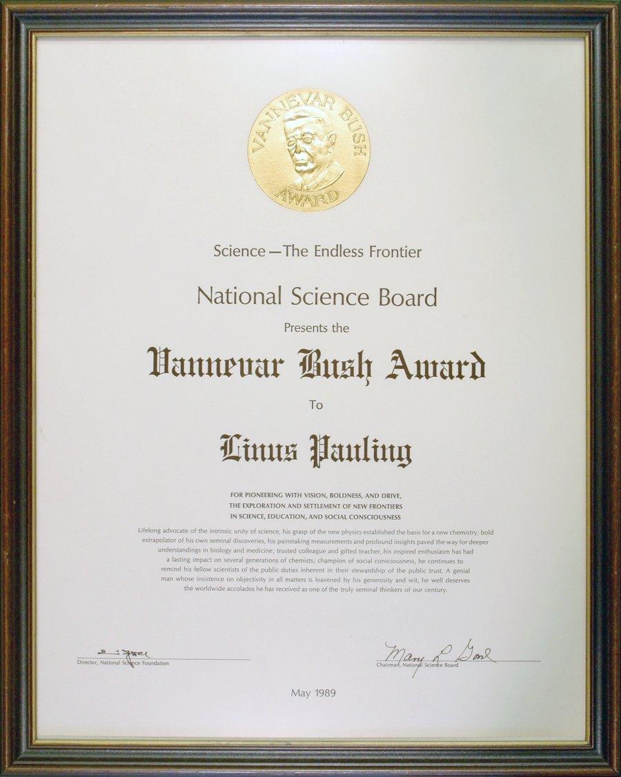 Vannevar Bush Award May 1989 Certificate Linus